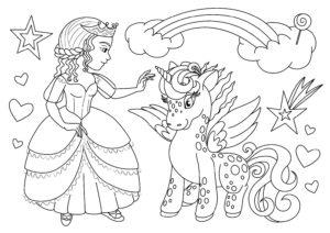dessin-a-colorier-licorne-et-princesse-1